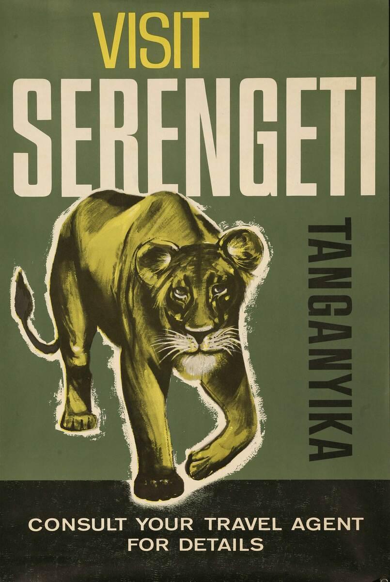 Visit Serengeti Tanganyika Original African Travel Poster