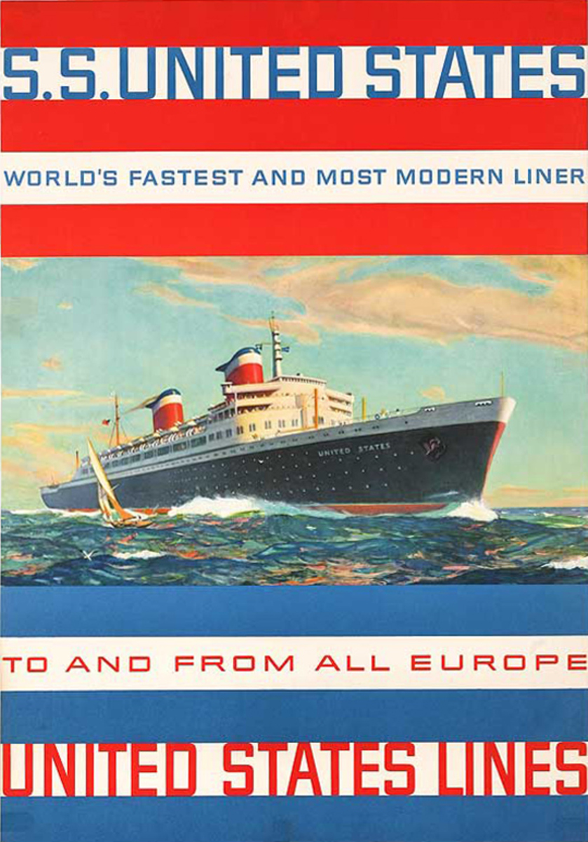 United States Lines To and From Europe Original Cruise Line Travel Poster