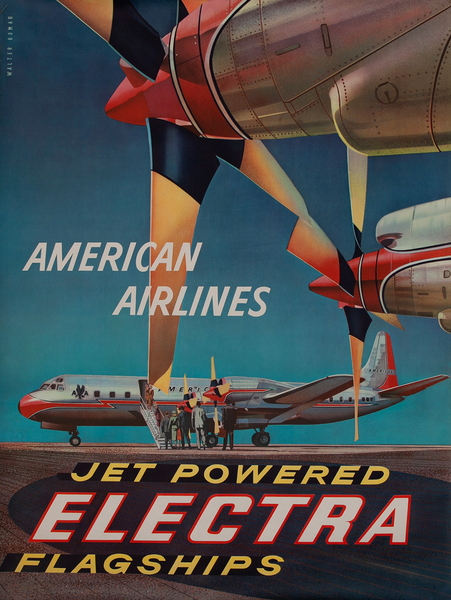 American Airlines Jet Powered Electra Original Travel Poster