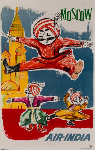 Air India Moscow Original Travel Poster