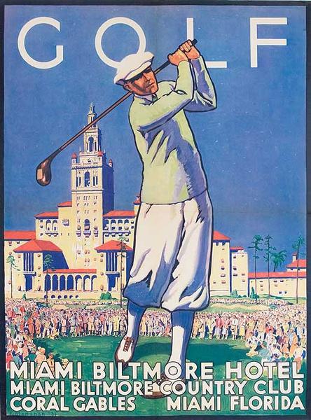 GOLF Miami Biltmore Hotel Original American Travel Poster