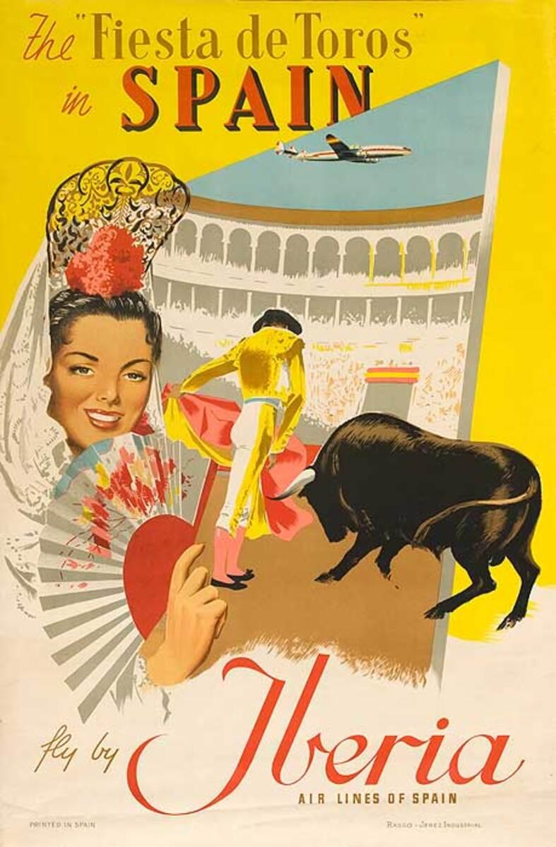 Fiesta de Toros Original Spanish Travel Poster Iberia Airline