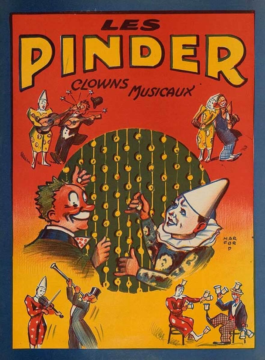 Cirque Pinder Original French Circus Poster Clowns
