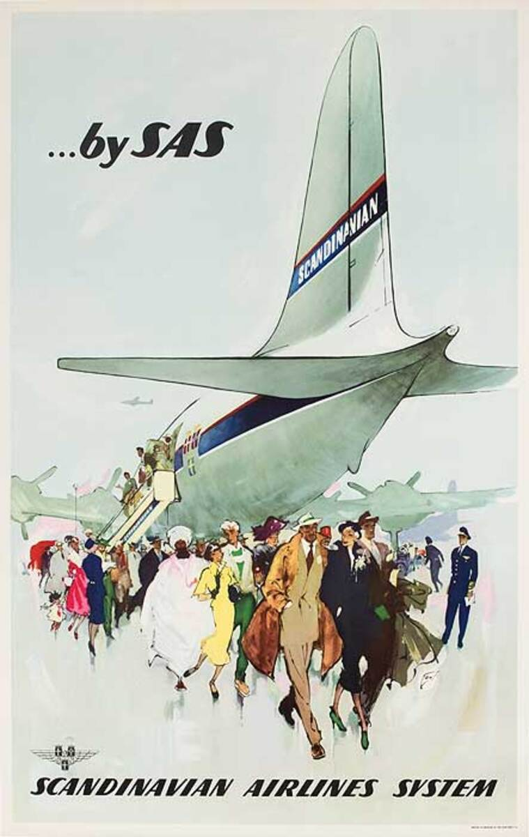 Original SAS Travel Poster Aircraft Tail
