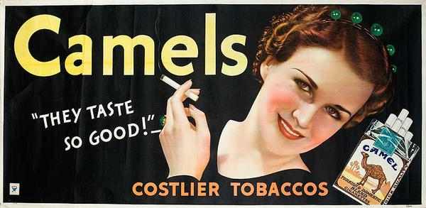 Camels They Taste So Good! Original American Advertising Cloth Banner