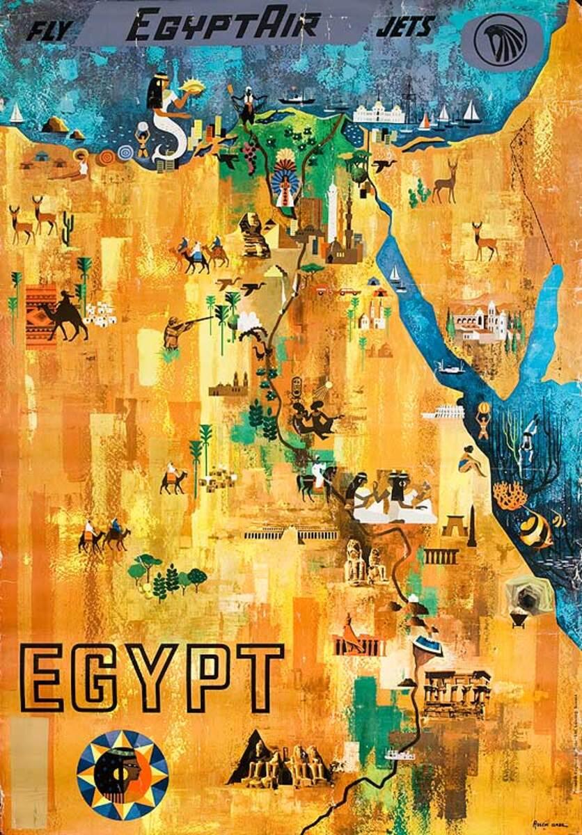 Egypt Air Original Travel Poster