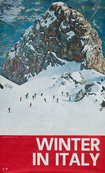 Italy In Winter Original ENIT Italian Travel Ski Poster