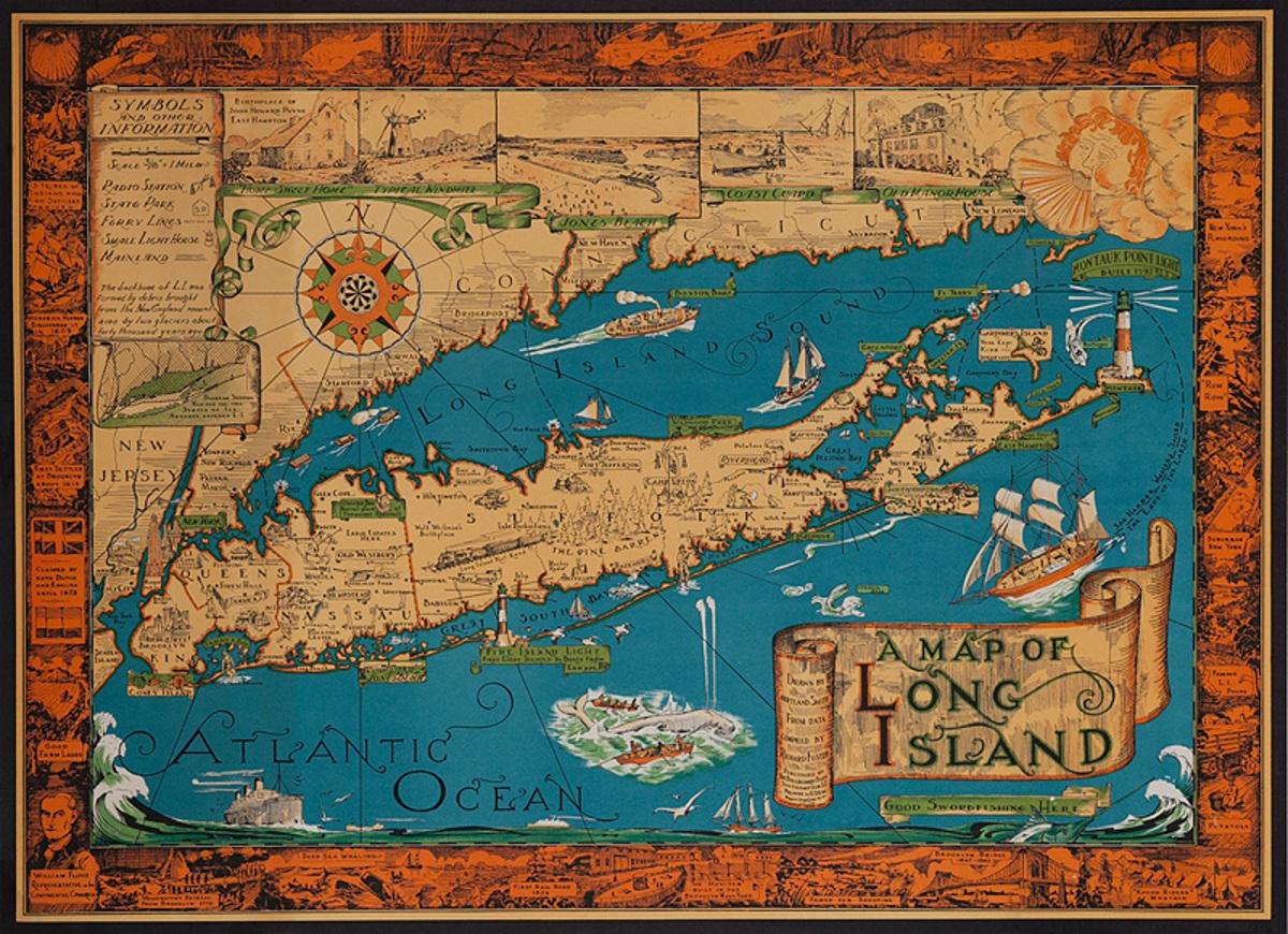 Original Long Island New York Souvenir Map Poster