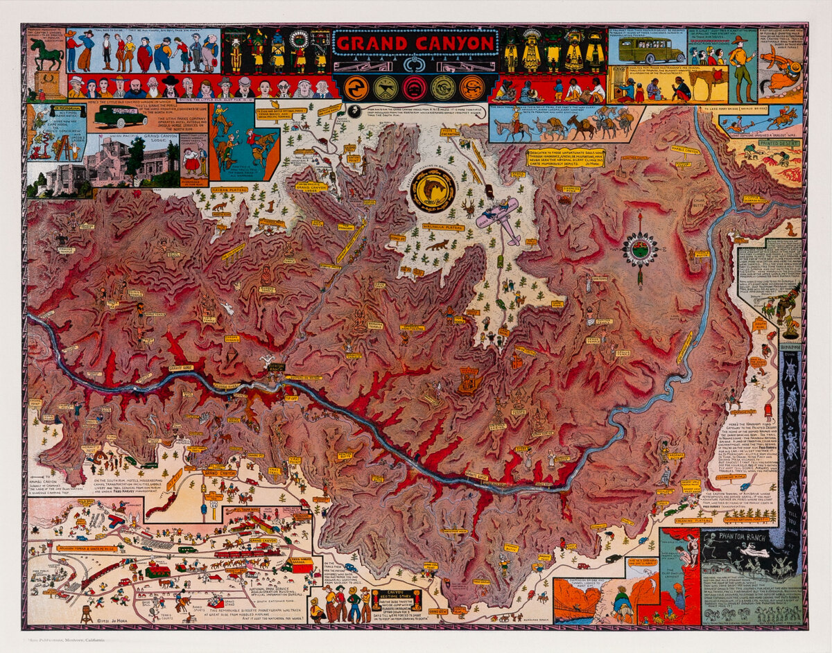 Jo Mora Grand Canyon Original Travel Poster Map Carte