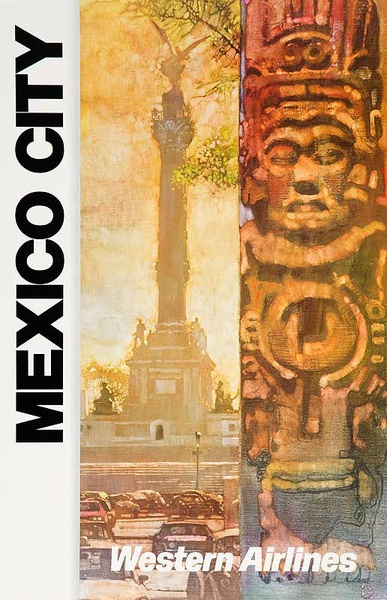 Original Western Airlines Mexico City Travel Poster