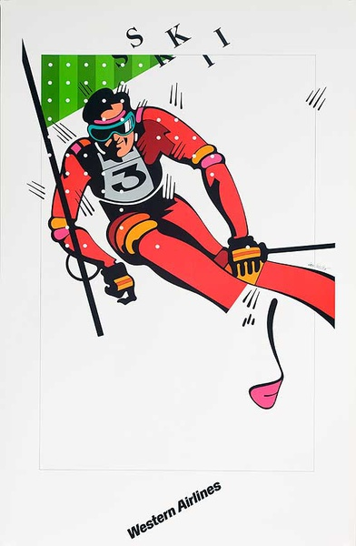 Original Western Airlines Travel Poster SKI slalom