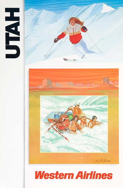Original Western Airlines Travel Poster Utah Summer Winter Sports Ski Raft