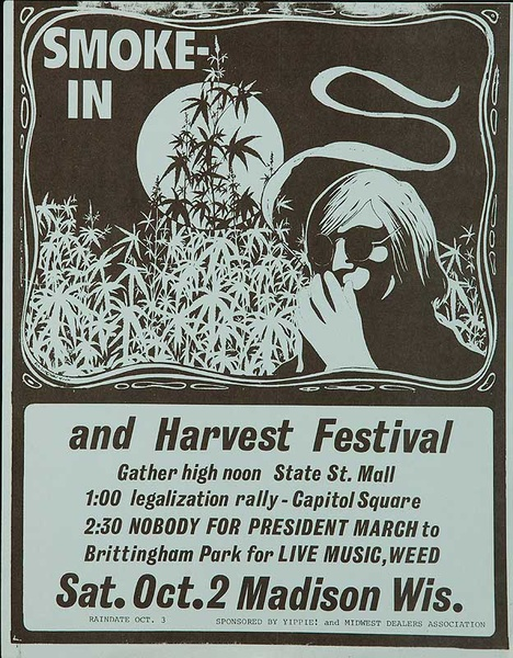 Smoke in and Harvest Festival Original American Marijuana Protest Poster