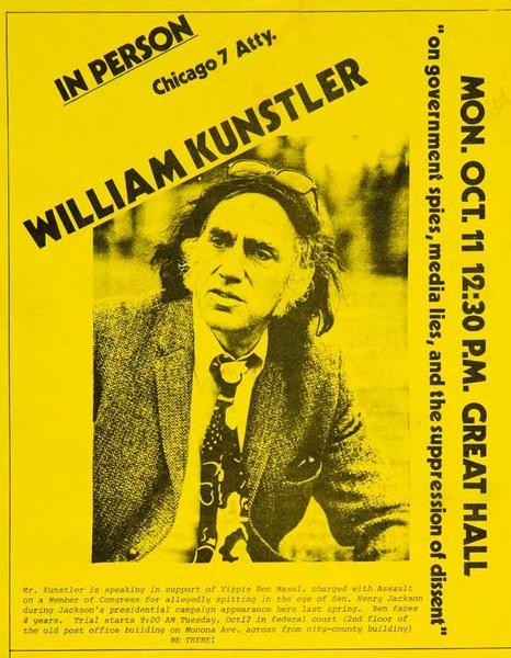 In Person William Kunstler Chicago 7 Attorney, Original American Protest Poster