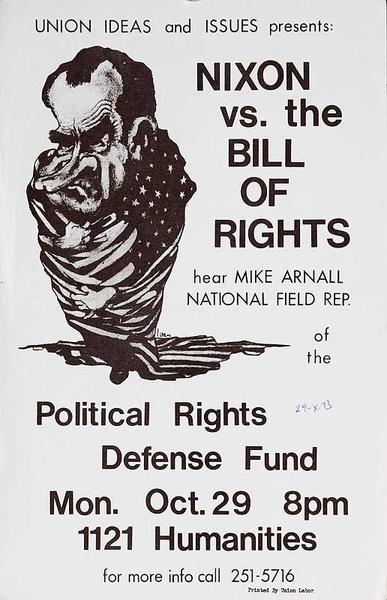 Nixon vs the Bill Of Rights Original American Protest Poster