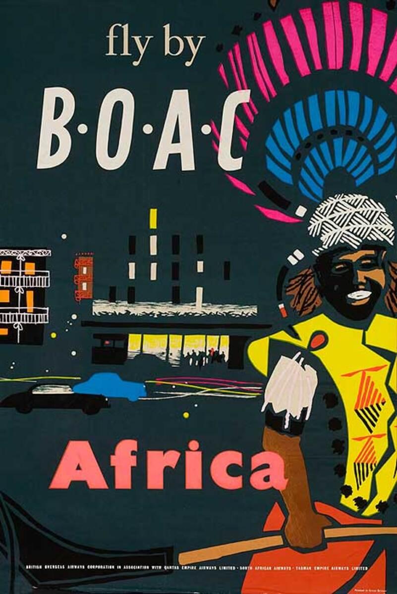 BOAC Original Travel Poster Africa