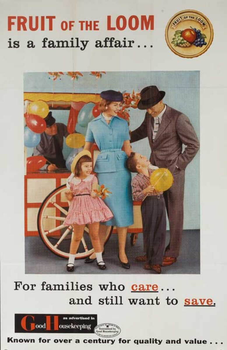 Fruit of the Loom Original American Advertising Poster a Family Affair baloon