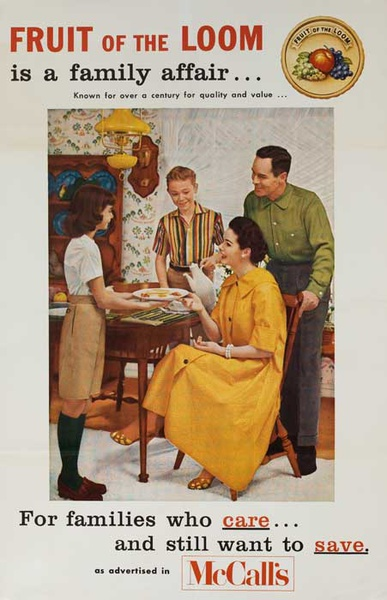 Fruit of the Loom Original American Advertising Poster A Family Affair meal