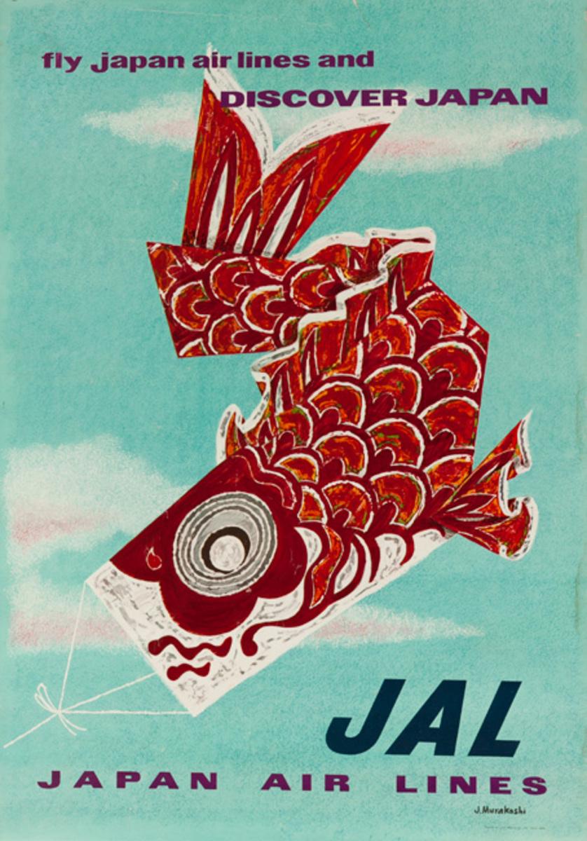 Discover Japan  JAL Original Air Line Poster fish kite