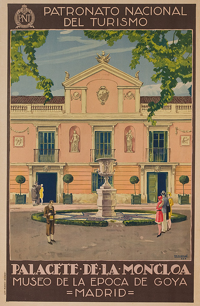 Original PNT Spanish Travel Poster Palacete de la Moncloa Museao de Goya Madrid