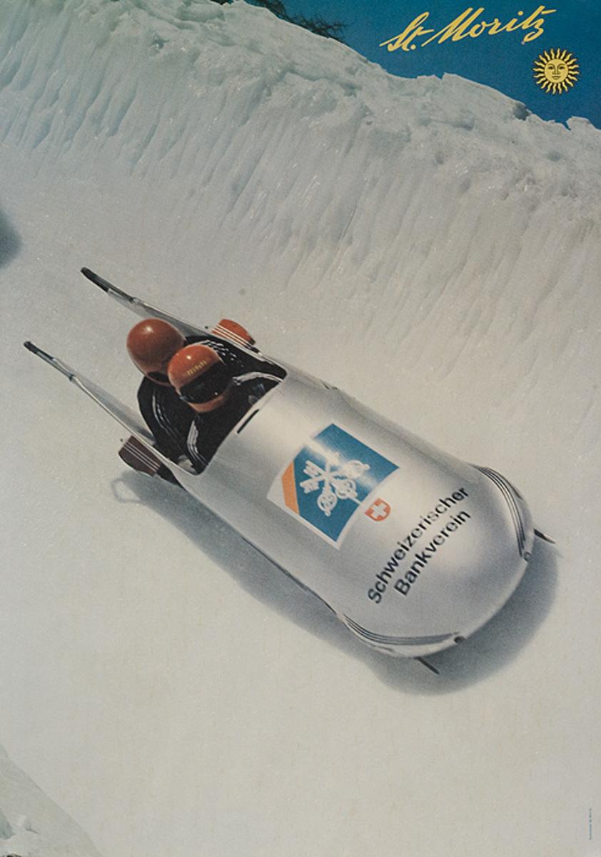 St. Moritz Original Swiss Trave; Poster Bobsled