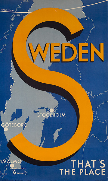 Sweden Travel Poster That's The Place Original Travel Poster