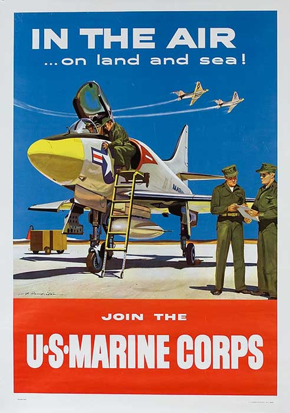 In The Air.. On Land and Sea Original U S Marine Corp Recruiting Poster