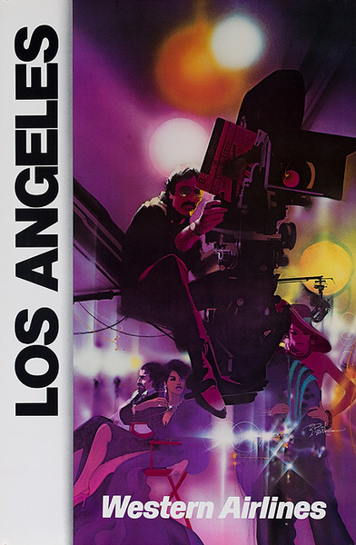 Western Airlines Original Travel Poster Los Angeles Movie Studio