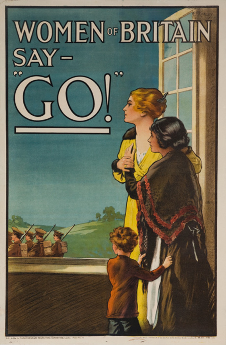 Women of Britain Say GO! Original WWI British Recruiting Poster