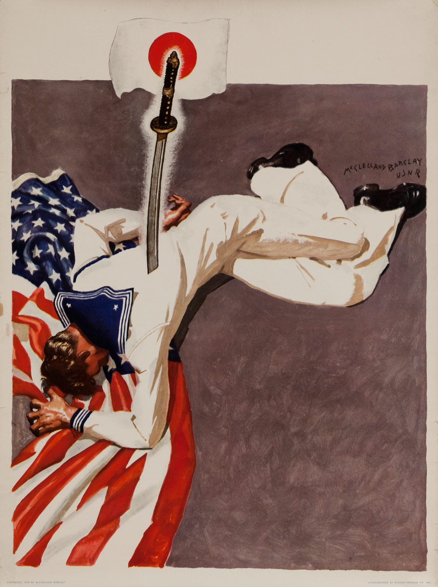 Original WWII Poster Sailor Stabbed by Japanese Sword