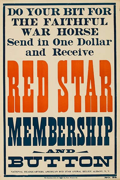 Red Star Membership and Button Original American WWI Animal Relief Poster