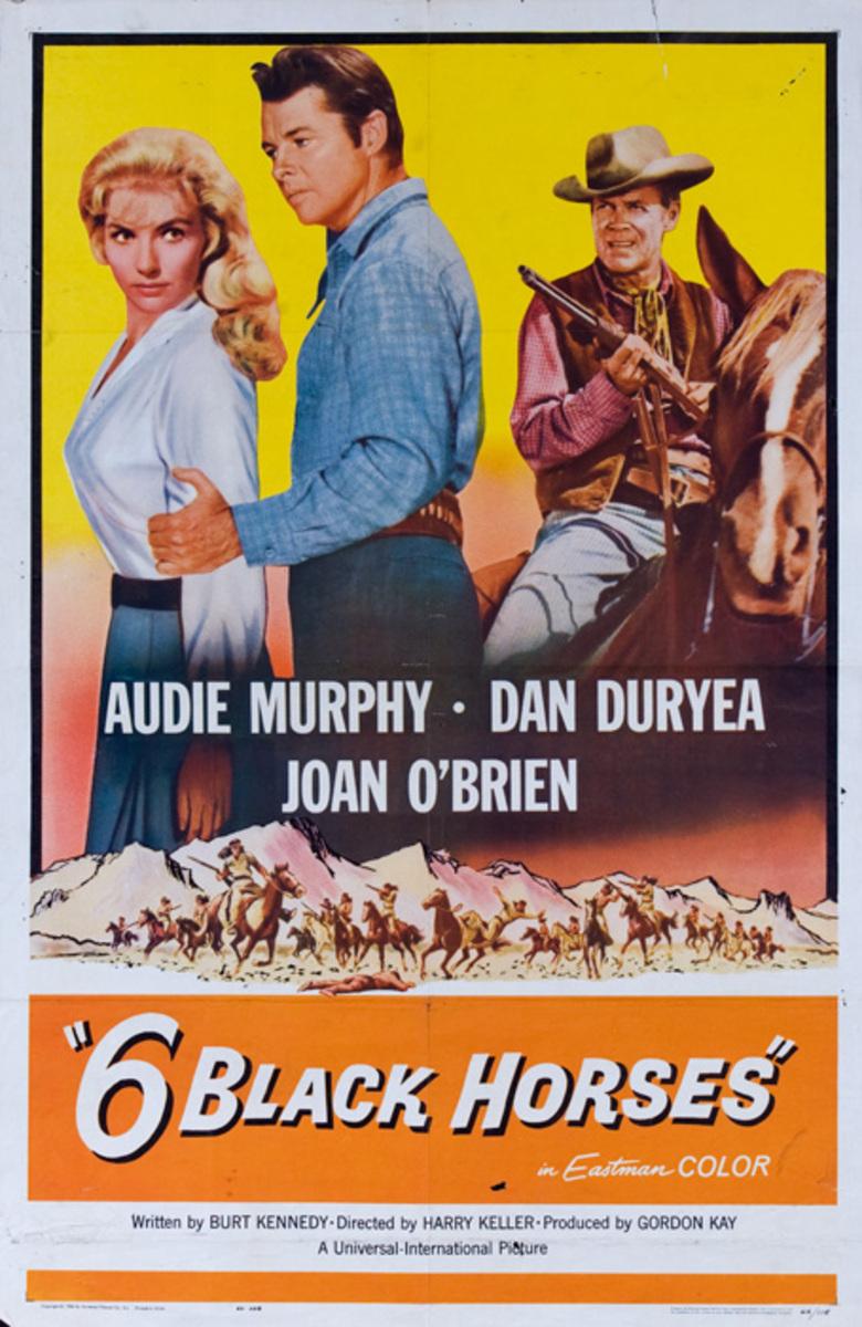 6 Black Horses Original American 1 Sheet Movie Poster