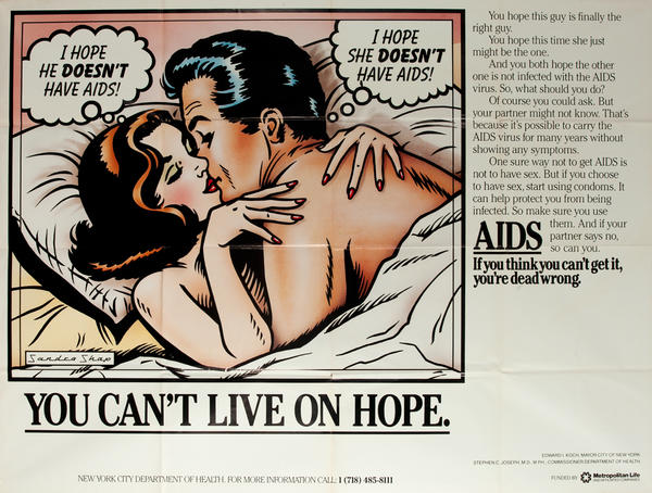 Original NY Aids Health Awareness Poster You Can't Live on Hope