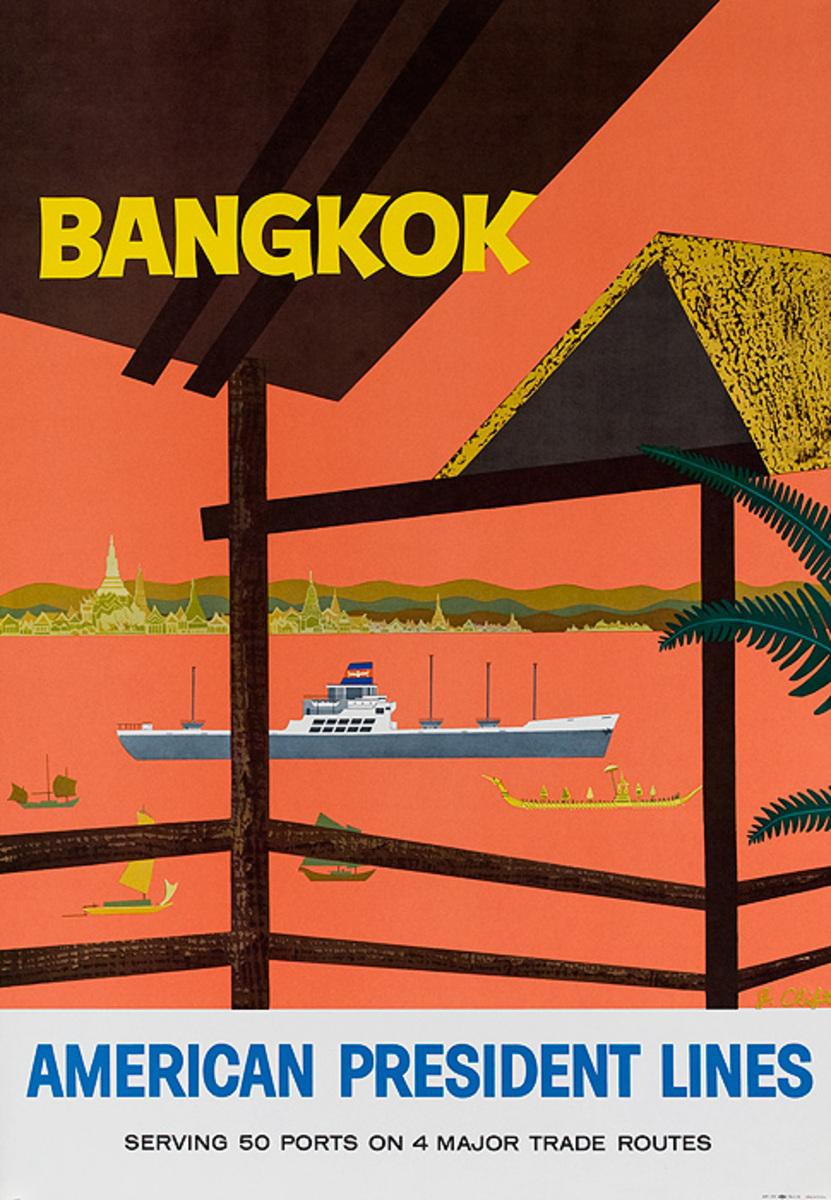 American President Line APL Bangkok Thailand Original Travel Poster