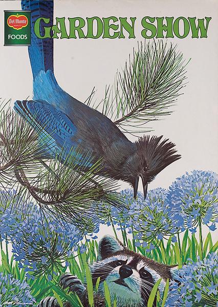 Del Monte Foods Garden Show Original Advertising Poster Bird Racoon