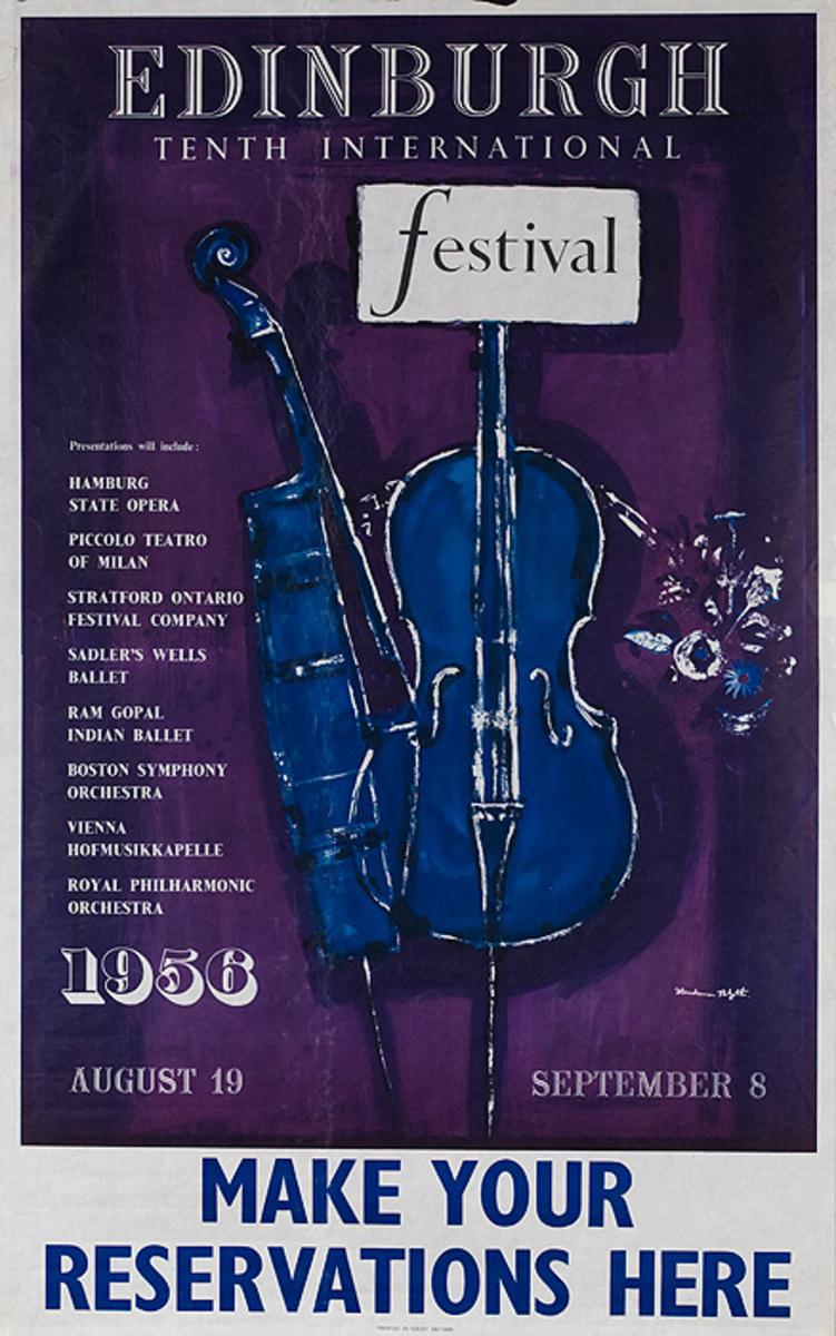Edinburgh 10th International Festival Original Scottish Travel Poster