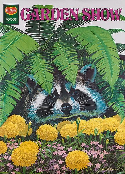 Del Monte Garden Show Original American Advertising Poster Racoon