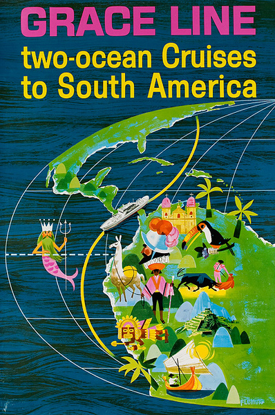 Grace Lines Two Ocean Cruises to South America Original Travel Poster