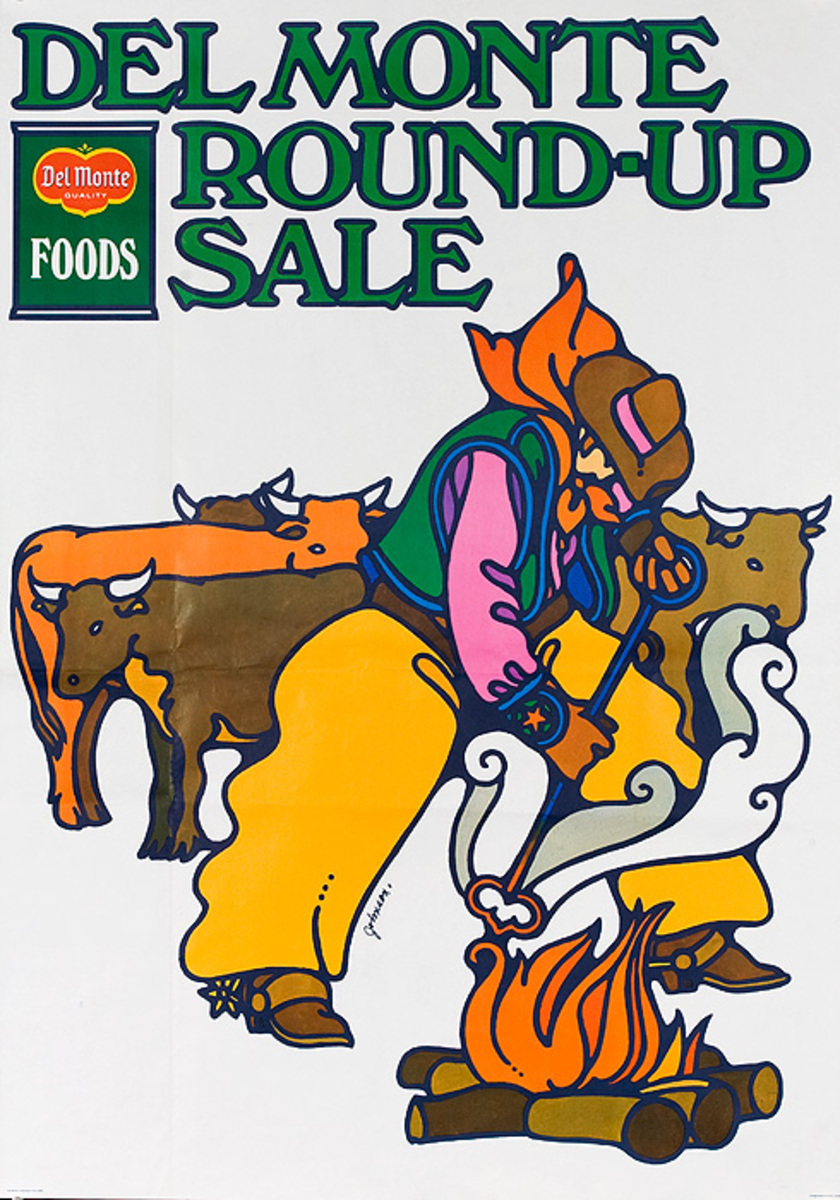 Del Monte Round Up Sale Original American Advertising Poster branding
