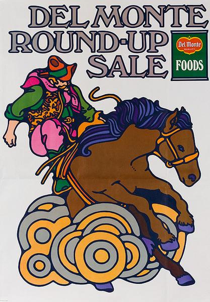 Del Monte Round Up Sale Original American Advertising Poster Bronco