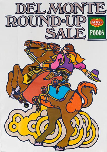 Del Monte Round Up Sale Original American Advertising Poster bucking bronco
