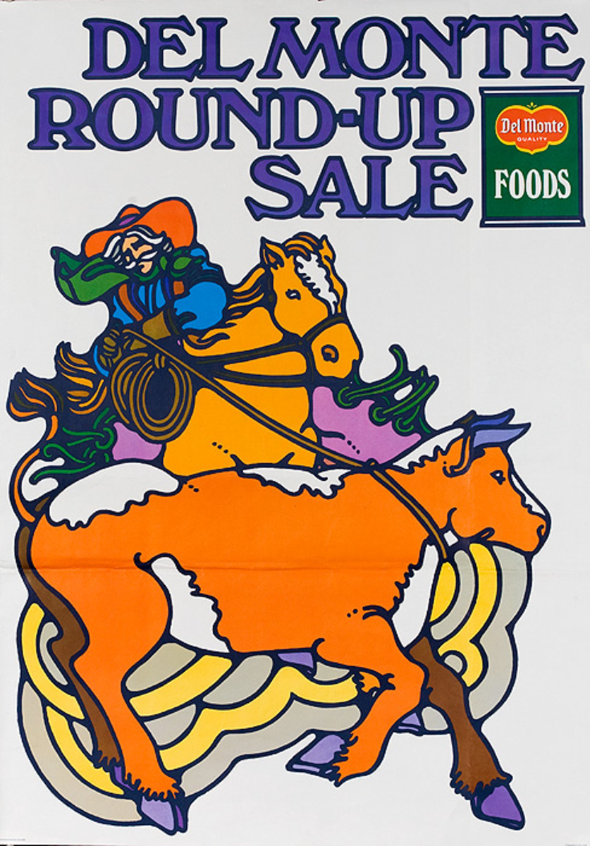 Del Monte Round Up Sale Original American Advertising Poster cow roping