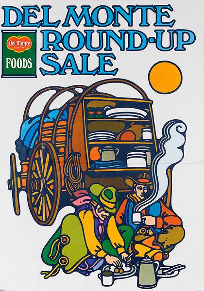 Del Monte Round Up Sale Original American Advertising Poster Chuckwagon