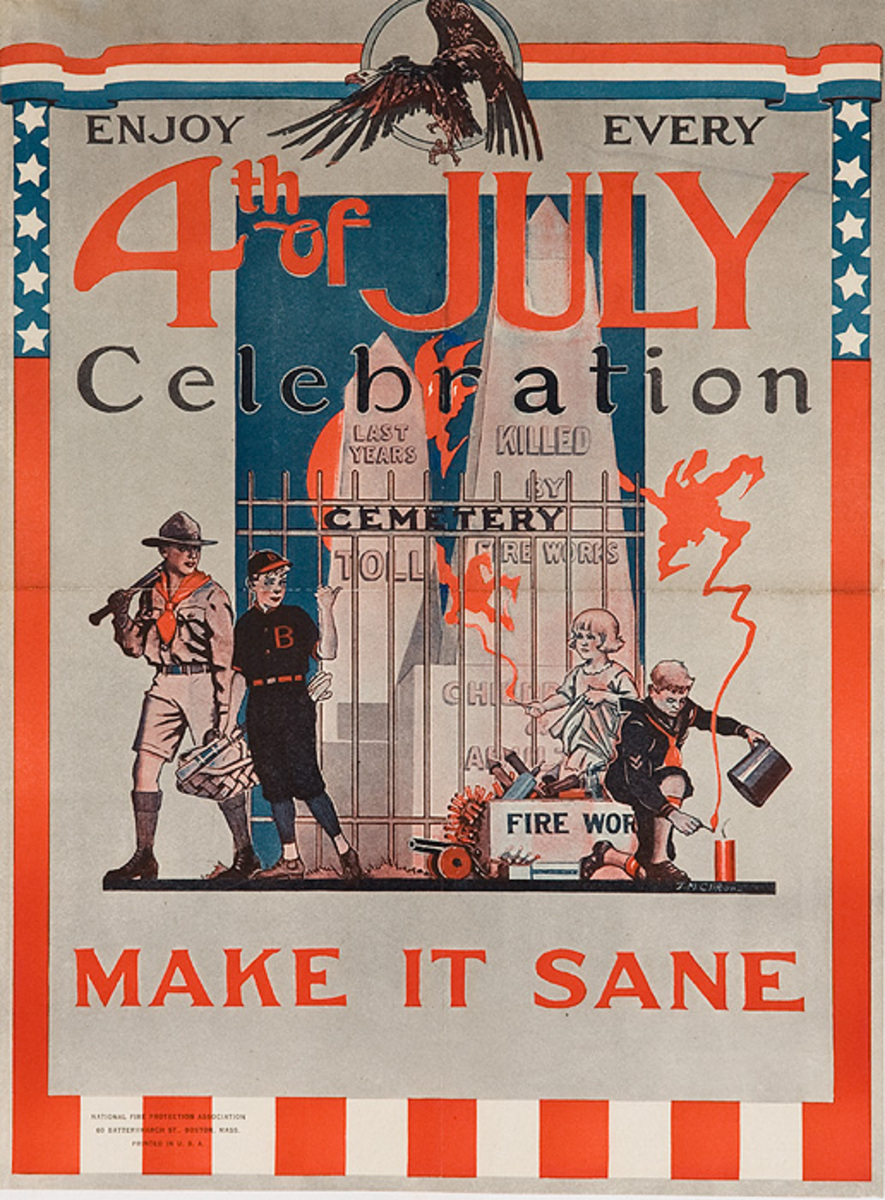 4th Of July Celebration Make it Sane Original Firework Safety Poster
