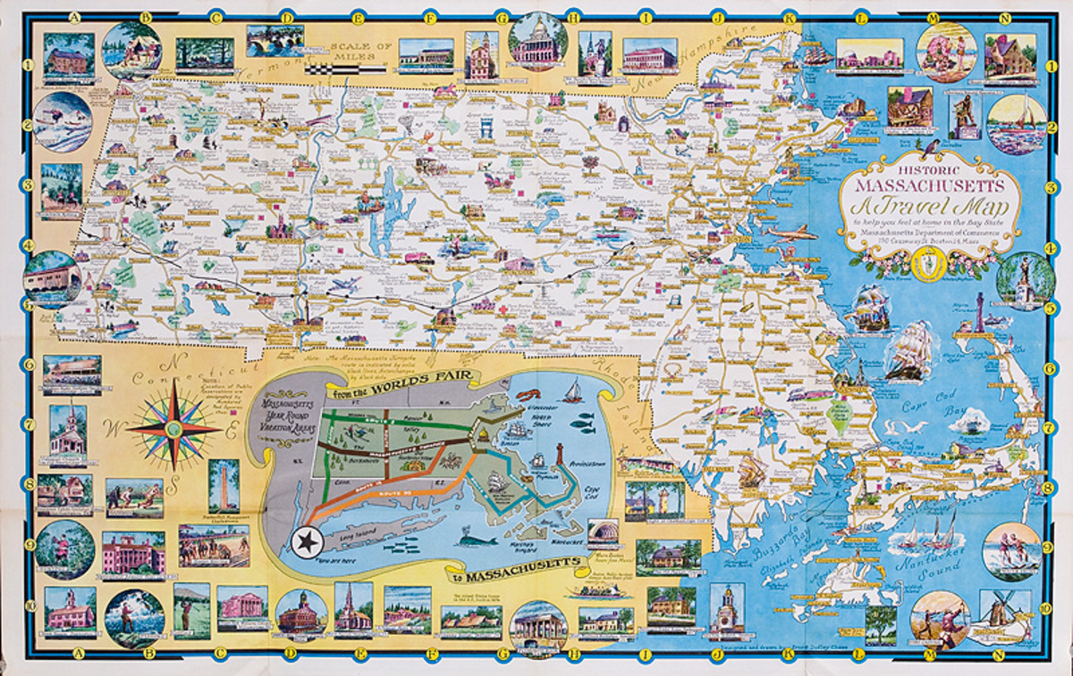 Souvenir Tourism Map of Massachusetts