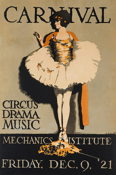Mechanics Institute Carnival Circus Drama Music Original College Theatre Poster