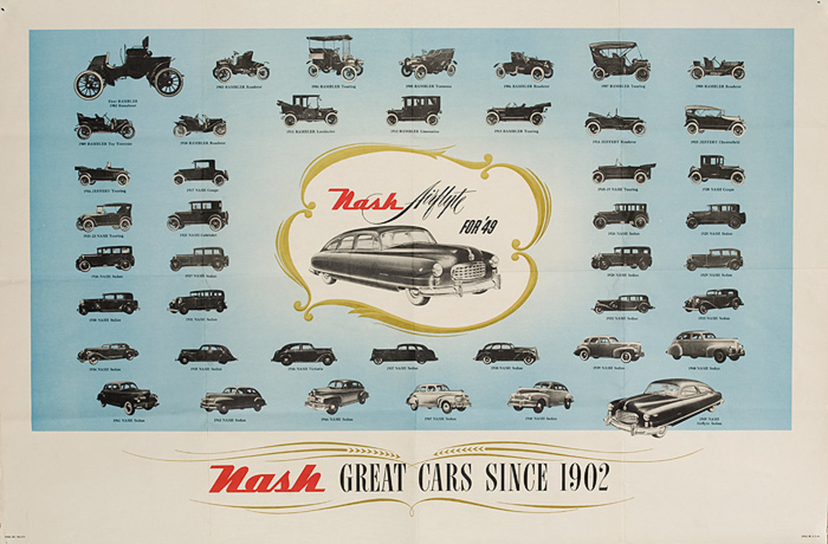 Nash Great Cars Since 1902 Original American Advertising Poster