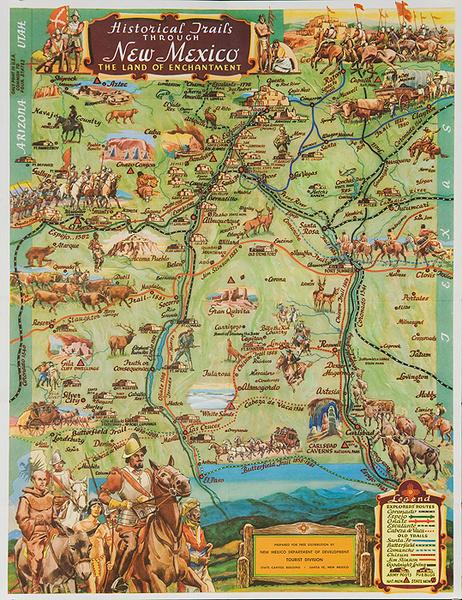 Historic Trails Through New Mexico Original Souvenir Map Poster