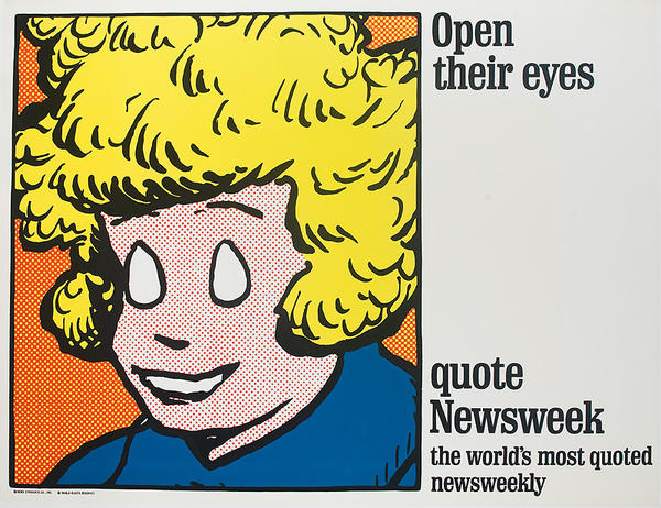 Open Their Eyes, Quote Newsweek Original American Advertising Poster Little Orphan Annie