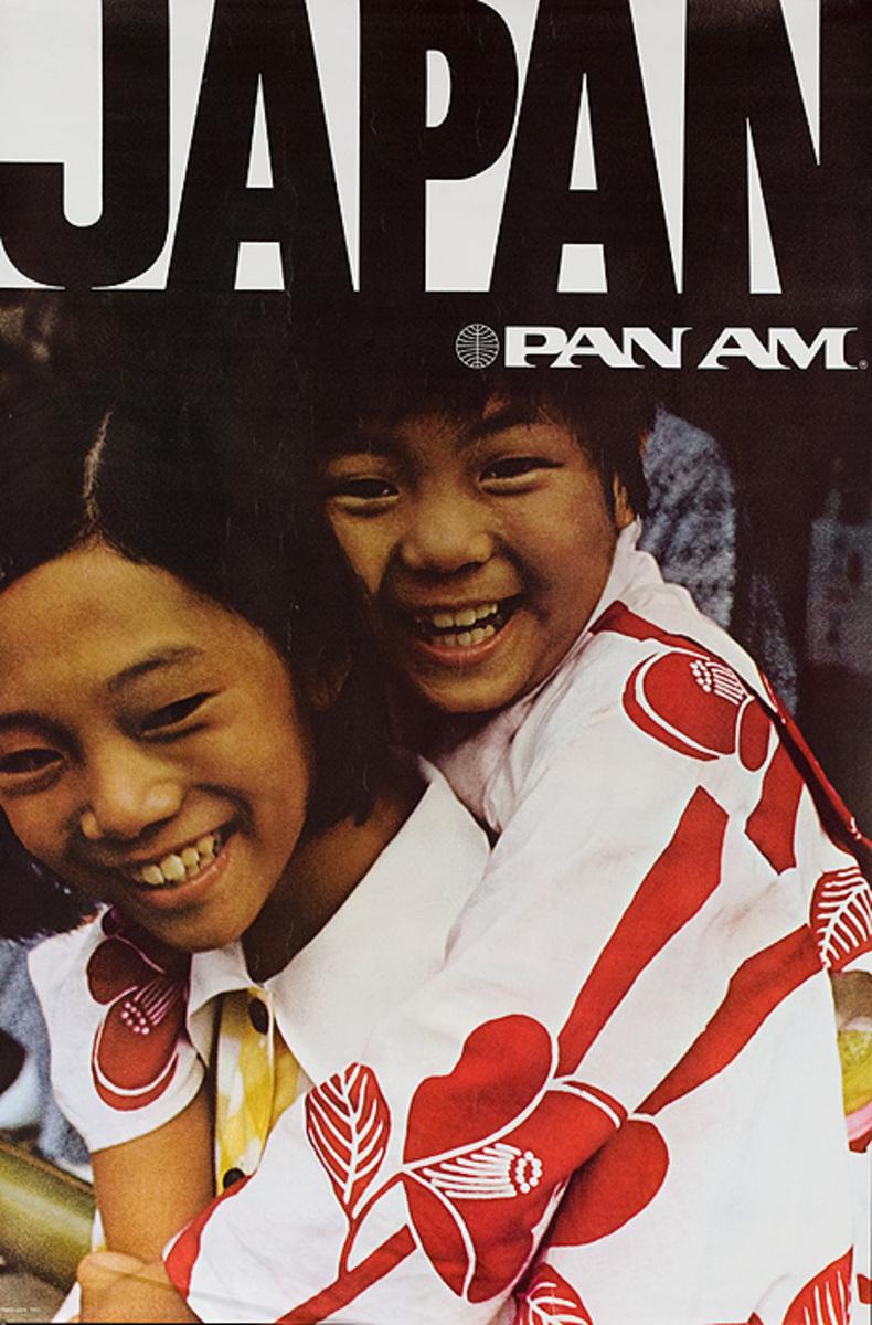Japan Pan Am Original Travel Poster mother child